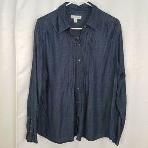 Coldwater Creek Chambray Top Size PXL